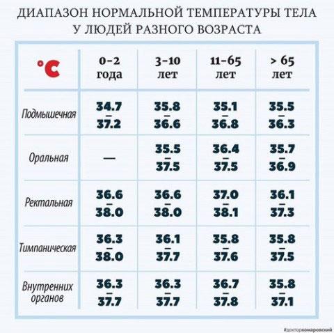 Какая температура тела считается нормальной для ребенка и взрослого человека