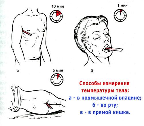 Сколько держать термометр в разных участках тела